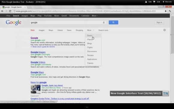 泄漏的谷歌搜索新界面(视频截图)