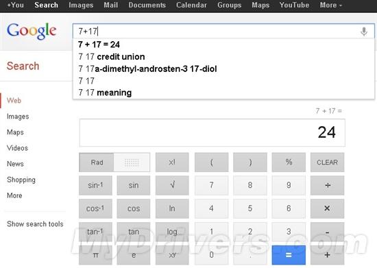 谷歌搜索中植入的34键计算器