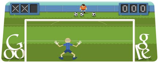 Google doodle:奥运足球点球互动小游戏
