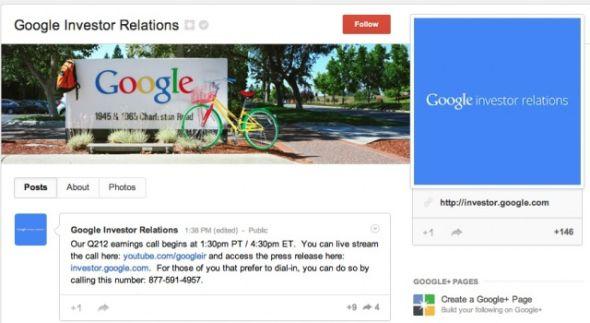 Google+投资者关系页面