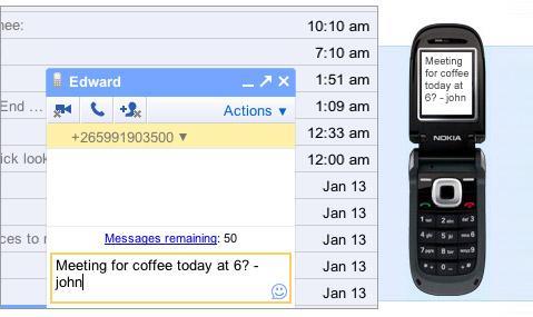 Gmail SMS 可通过短信收发邮件