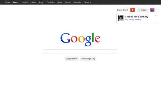 Google.com页面将显示Google+好友生日提醒