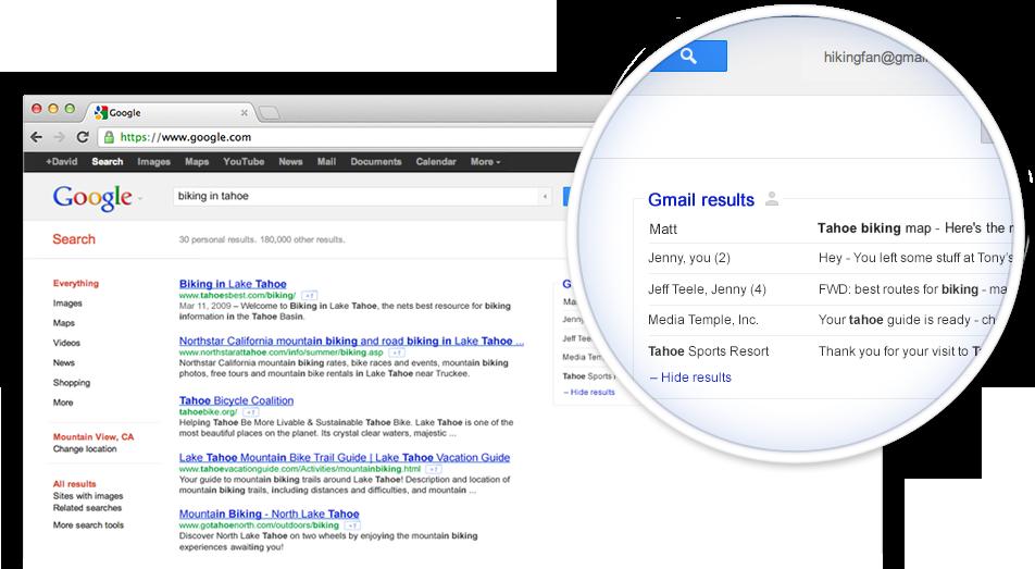 Gmail个人邮件信息将纳入谷歌搜索