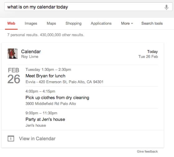 谷歌搜索中显示的日历事件