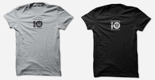 WordPress官方发布的10周年纪念T恤