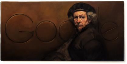Google doodle:荷兰画家伦勃朗诞辰407周年