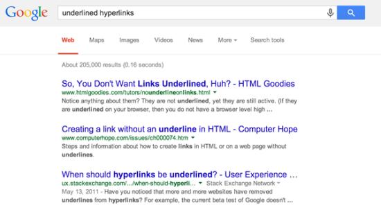 谷歌新设计的搜索结果页:取消了下划线