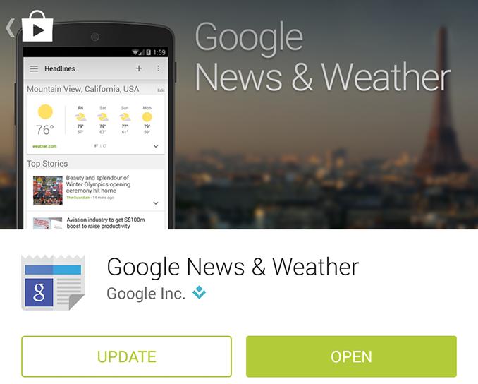 Google新闻和天气更新
