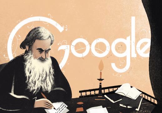 谷歌香港首页纪念列夫·托尔斯泰诞辰186周年