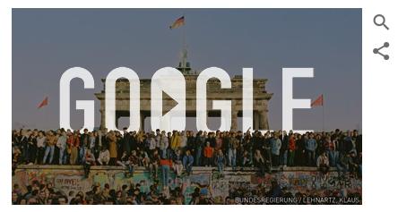 谷歌香港主页纪念柏林墙倒塌25周年