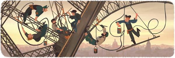 谷歌涂鸦纪念埃菲尔铁塔落成126周年