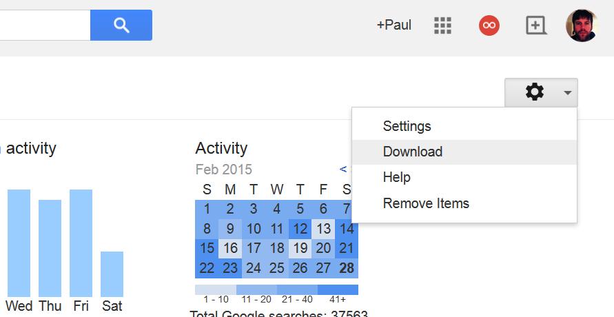导出谷歌搜索的历史记录