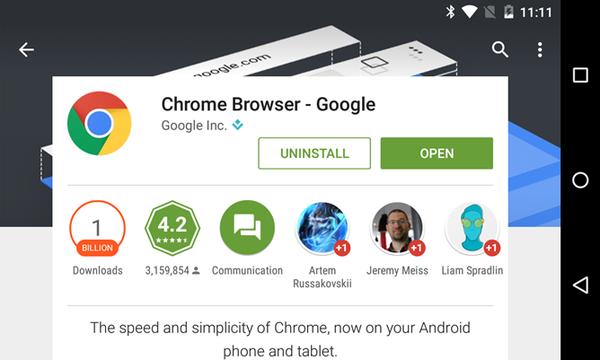 Android版Chrome浏览器下载量破10亿