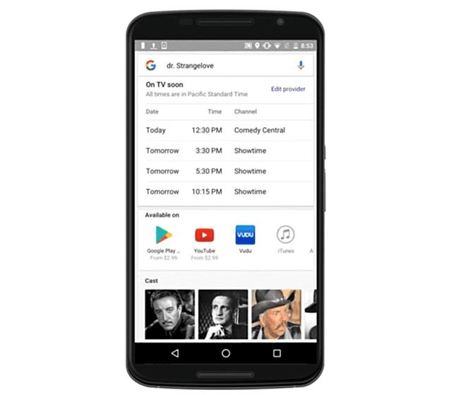 谷歌搜索推电视直播节目表功能