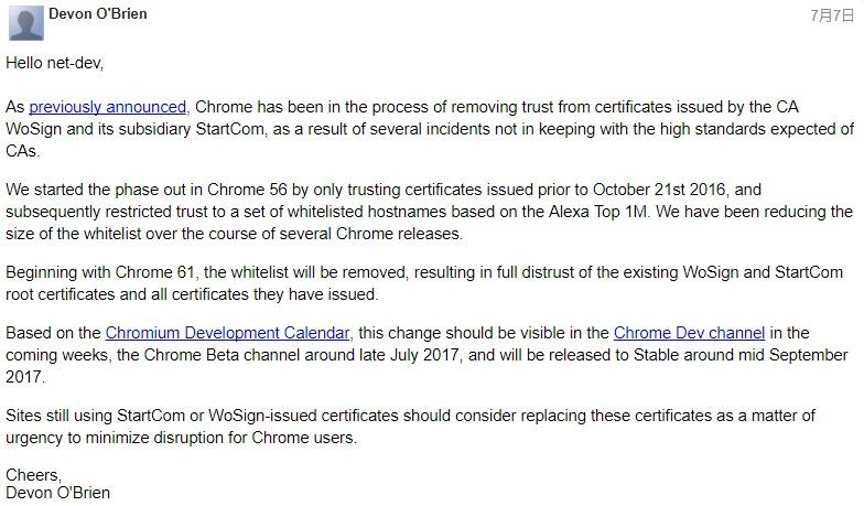 谷歌论坛关于沃通证书的帖文